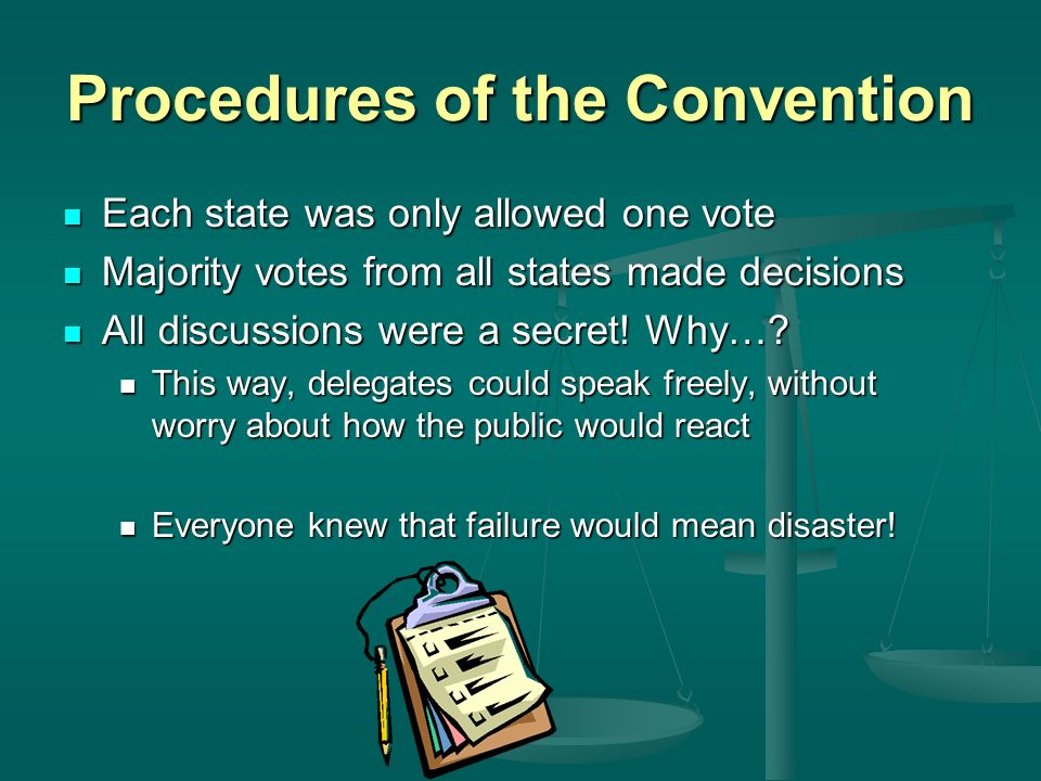 Procedures of the Convention Each state was only allowed one vote Each state was only allowed one vote Majority votes from all states made decisions Majority votes from all states made decisions All discussions were a secret.