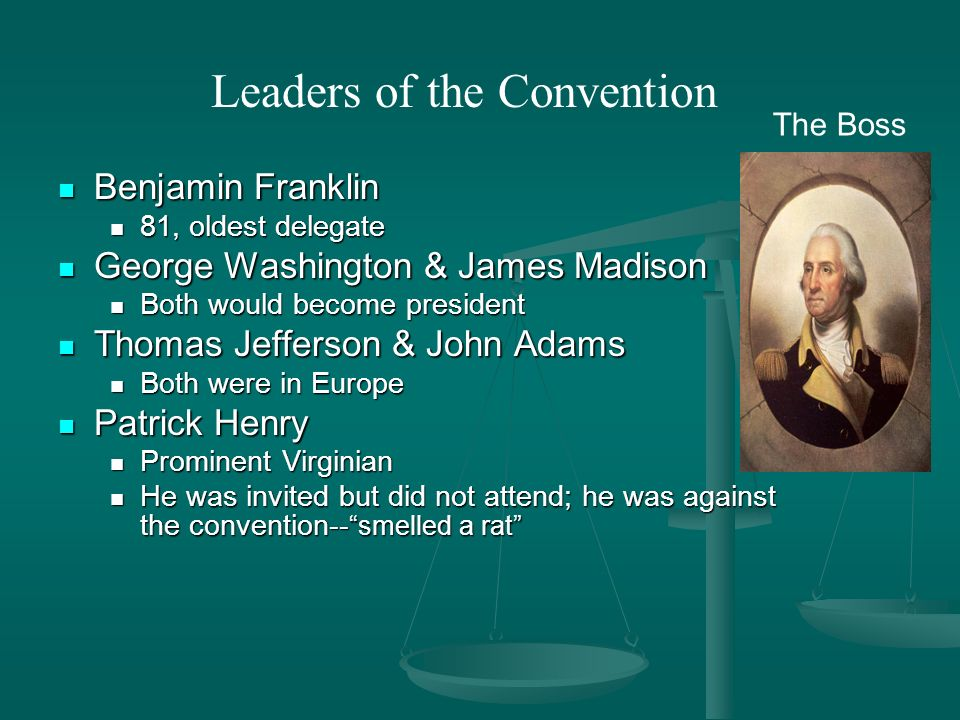 Benjamin Franklin Benjamin Franklin 81, oldest delegate 81, oldest delegate George Washington & James Madison George Washington & James Madison Both would become president Both would become president Thomas Jefferson & John Adams Thomas Jefferson & John Adams Both were in Europe Both were in Europe Patrick Henry Patrick Henry Prominent Virginian Prominent Virginian He was invited but did not attend; he was against the convention-- smelled a rat He was invited but did not attend; he was against the convention-- smelled a rat Leaders of the Convention The Boss
