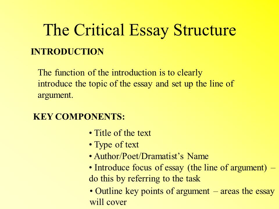 a critcal essay How to write a literary analysis essay the purpose of a literary analysis essay is to carefully examine and sometimes evaluate a work of literature or an aspect of a work of literature.