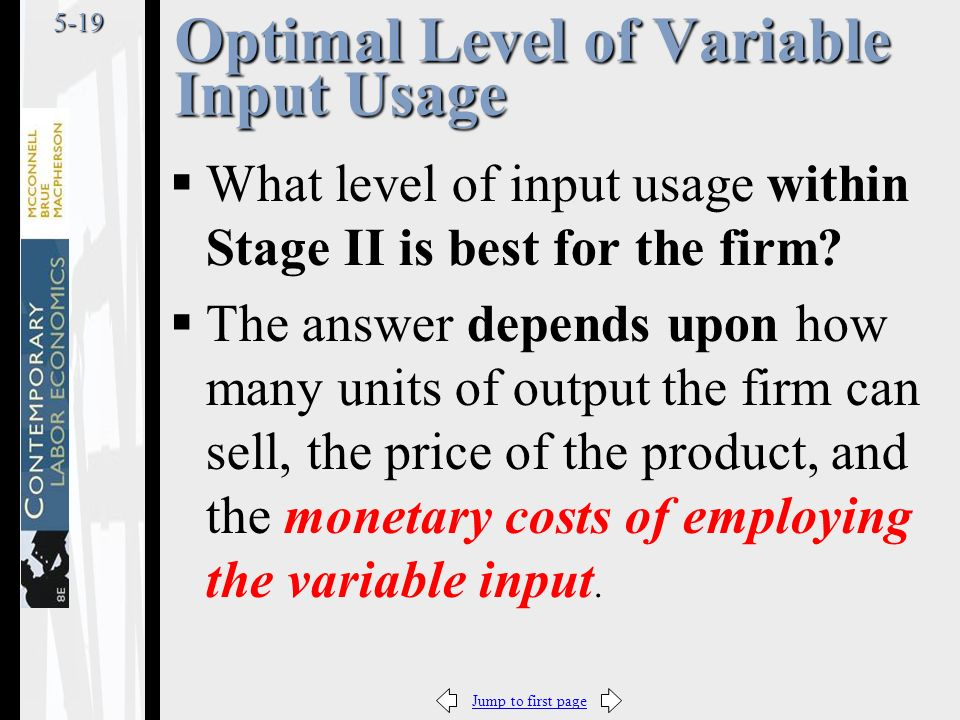 Jump to first page5-19 Optimal Level of Variable Input Usage  What level of input usage within Stage II is best for the firm.