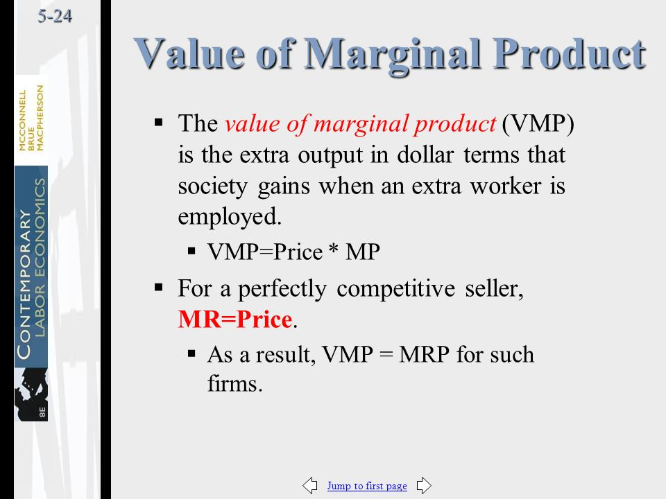 Jump to first page5-24  The value of marginal product (VMP) is the extra output in dollar terms that society gains when an extra worker is employed.