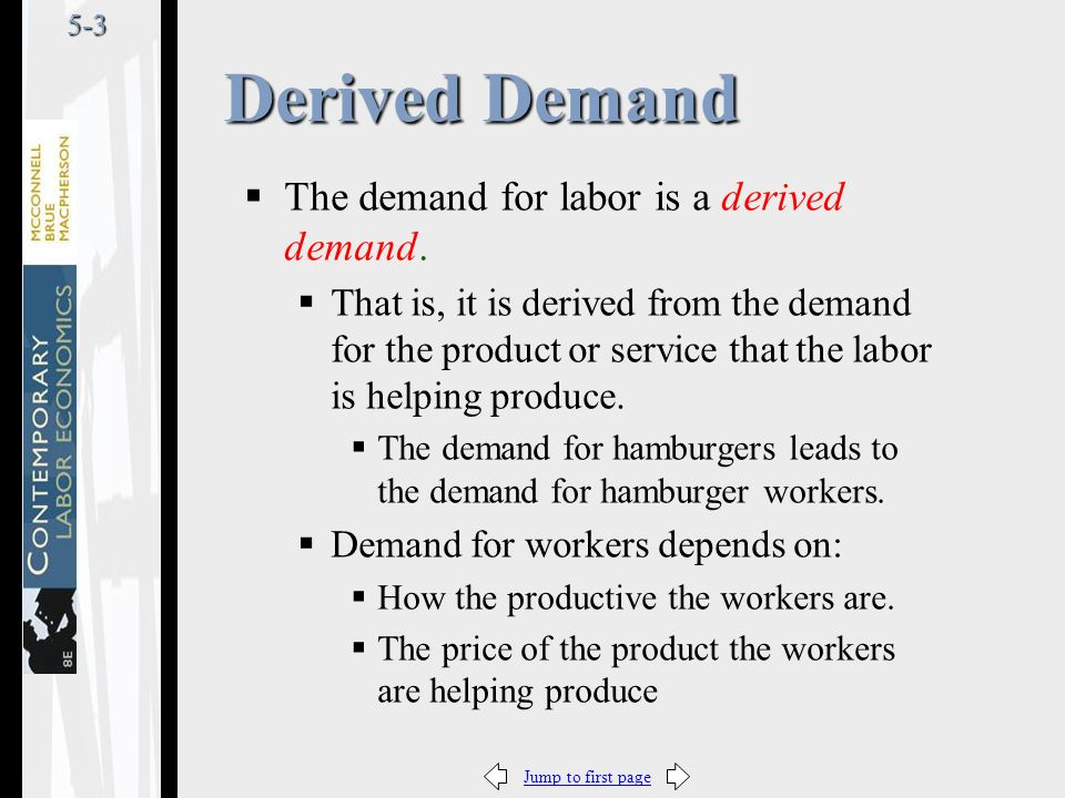 Jump to first page5-3  The demand for labor is a derived demand.