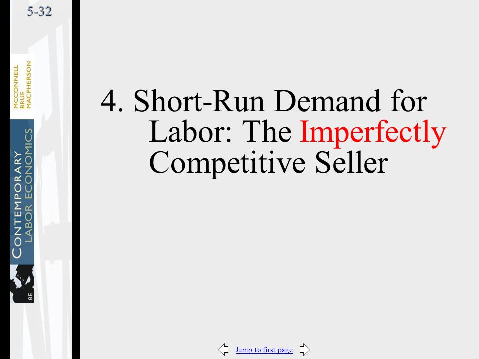 Jump to first page5-32 4. Short-Run Demand for Labor: The Imperfectly Competitive Seller