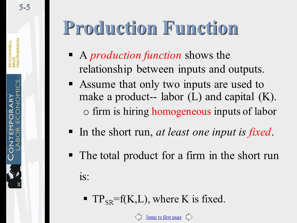 Jump to first page5-5  A production function shows the relationship between inputs and outputs.
