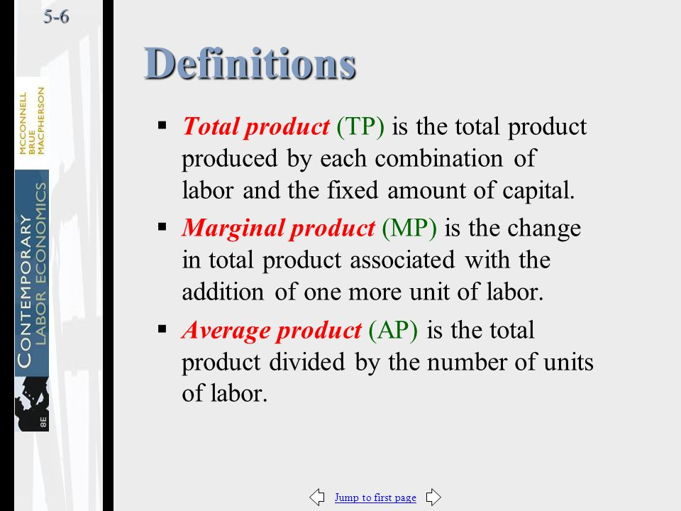 Jump to first page5-6  Total product (TP) is the total product produced by each combination of labor and the fixed amount of capital.