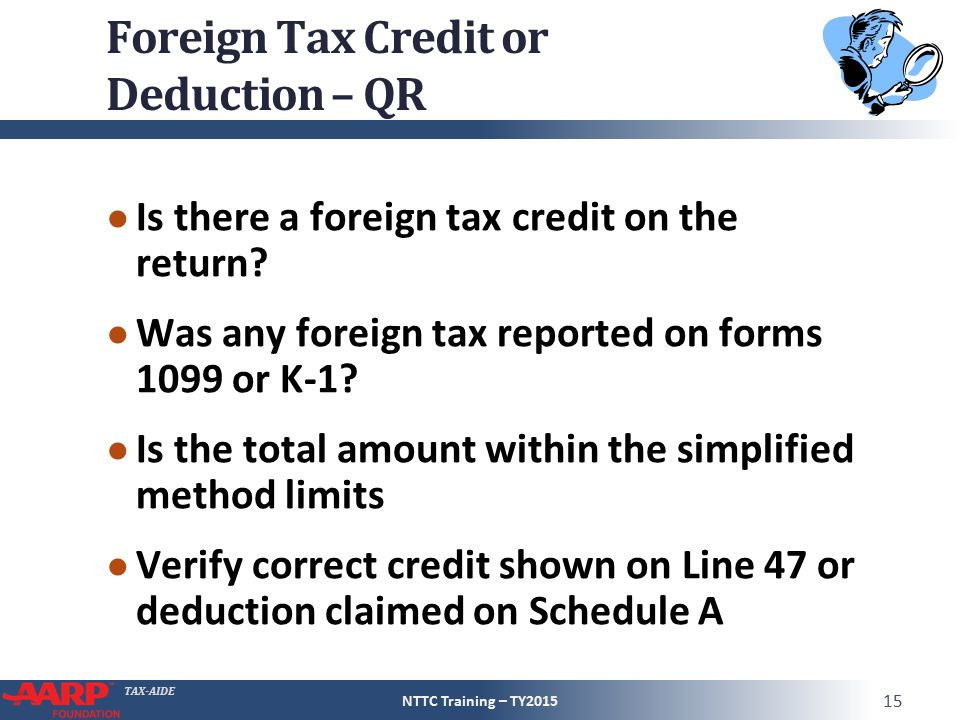 TAX-AIDE Foreign Tax Credit (or deduction) Form 1040Line 48 Pub ...