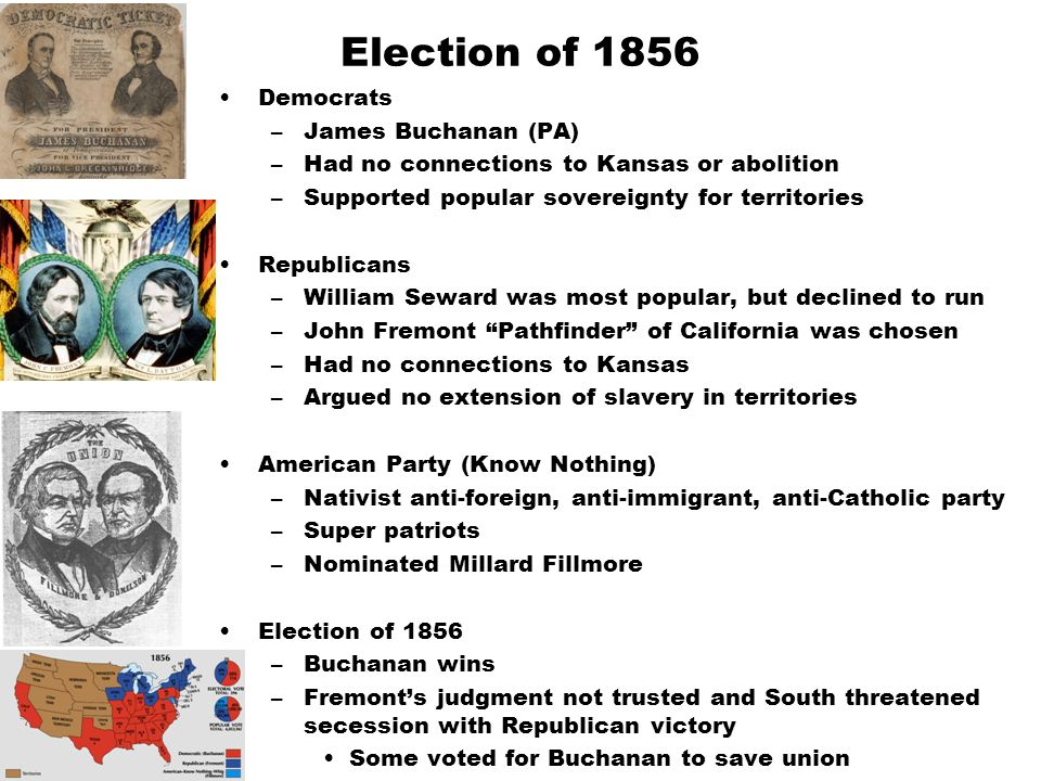 Election of 1856 Democrats –James Buchanan (PA) –Had no connections to Kansas or abolition –Supported popular sovereignty for territories Republicans –William Seward was most popular, but declined to run –John Fremont Pathfinder of California was chosen –Had no connections to Kansas –Argued no extension of slavery in territories American Party (Know Nothing) –Nativist anti-foreign, anti-immigrant, anti-Catholic party –Super patriots –Nominated Millard Fillmore Election of 1856 –Buchanan wins –Fremont's judgment not trusted and South threatened secession with Republican victory Some voted for Buchanan to save union