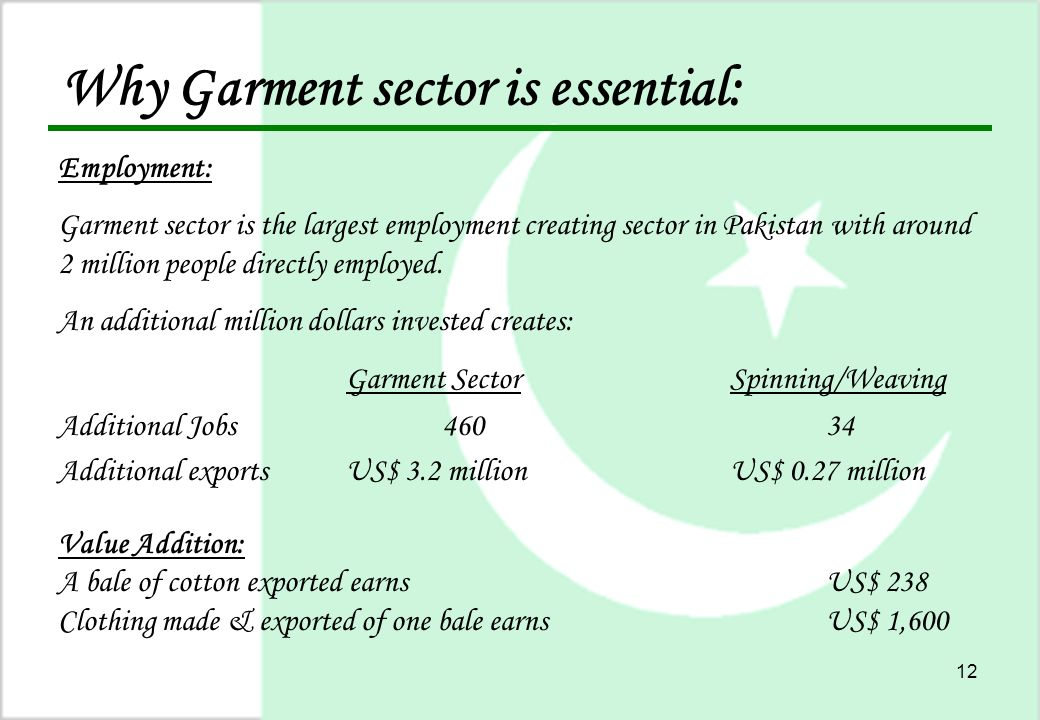 12 Why Garment sector is essential: Employment: Garment sector is the largest employment creating sector in Pakistan with around 2 million people directly employed.