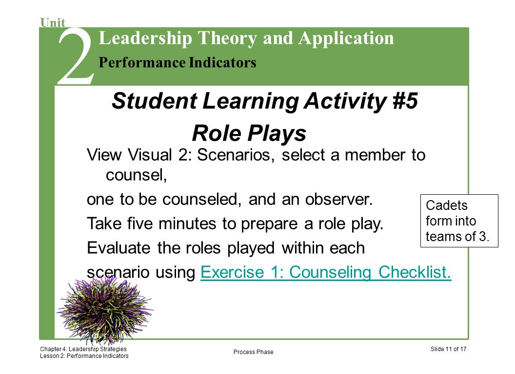 2 Chapter 4: Leadership Strategies Lesson 2: Performance Indicators Slide 11 of 17 Unit Performance Indicators Leadership Theory and Application 2 View Visual 2: Scenarios, select a member to counsel, one to be counseled, and an observer.