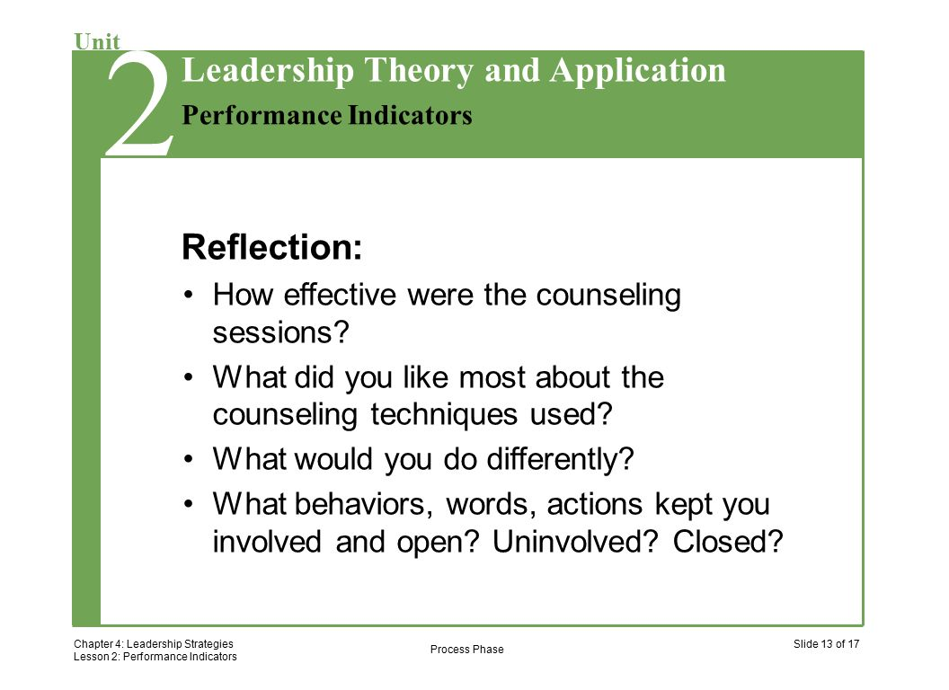 2 Chapter 4: Leadership Strategies Lesson 2: Performance Indicators Slide 13 of 17 Unit Performance Indicators Leadership Theory and Application 2 Reflection: How effective were the counseling sessions.