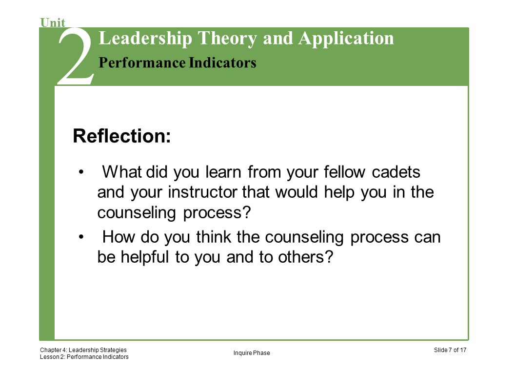 2 Chapter 4: Leadership Strategies Lesson 2: Performance Indicators Slide 7 of 17 Unit Performance Indicators Leadership Theory and Application 2 Reflection: What did you learn from your fellow cadets and your instructor that would help you in the counseling process.