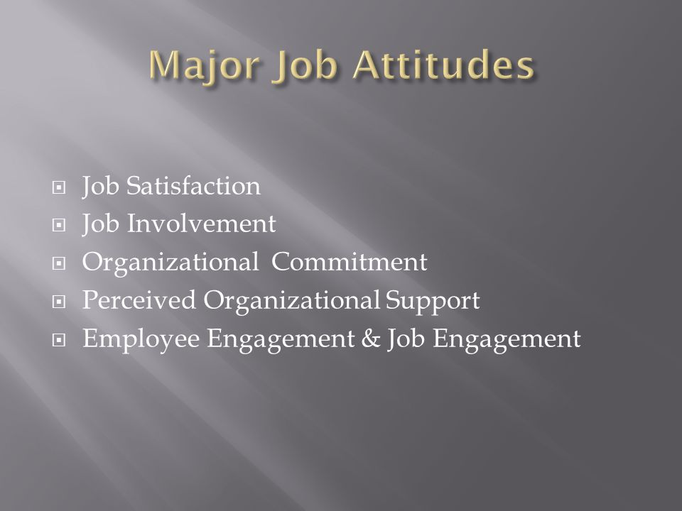 Job Satisfaction  Job Involvement  Organizational Commitment  Perceived Organizational Support  Employee Engagement & Job Engagement
