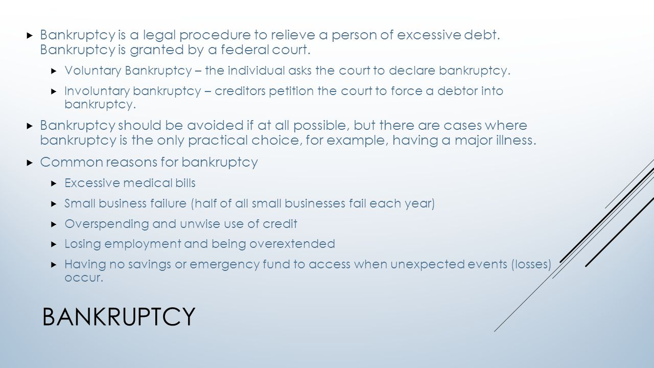lesson 9-2 bankruptcy choices learning goals: - explain the