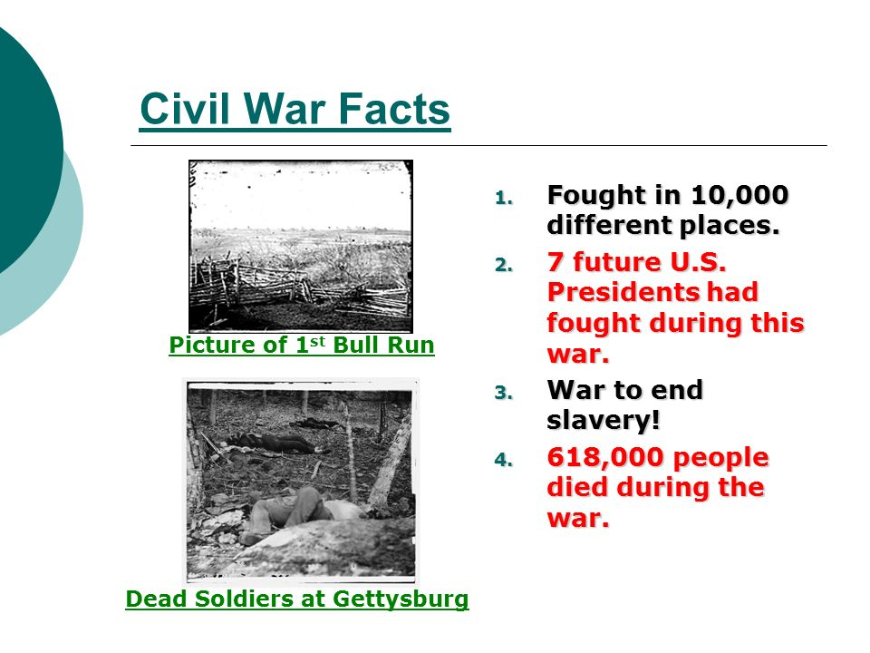 Civil War Facts 1 Fought In 10 000 Diffe Places
