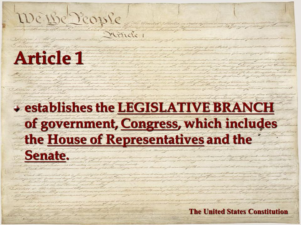 Article 1 establishes the LEGISLATIVE BRANCH of government, Congress, which includes the House of Representatives and the Senate.