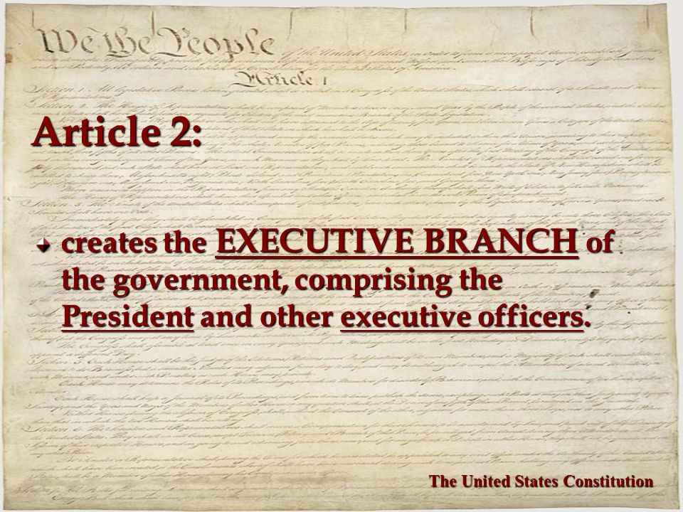 Article 2: creates the EXECUTIVE BRANCH of the government, comprising the President and other executive officers.