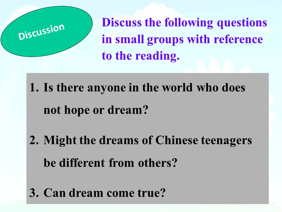 Discussion Discuss the following questions in small groups with reference to the reading.