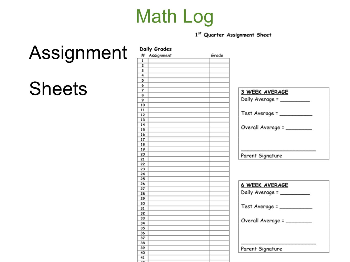 assigment sheet Printable teaching tools - includes printable lesson plan book pages and homework assignment sheets.