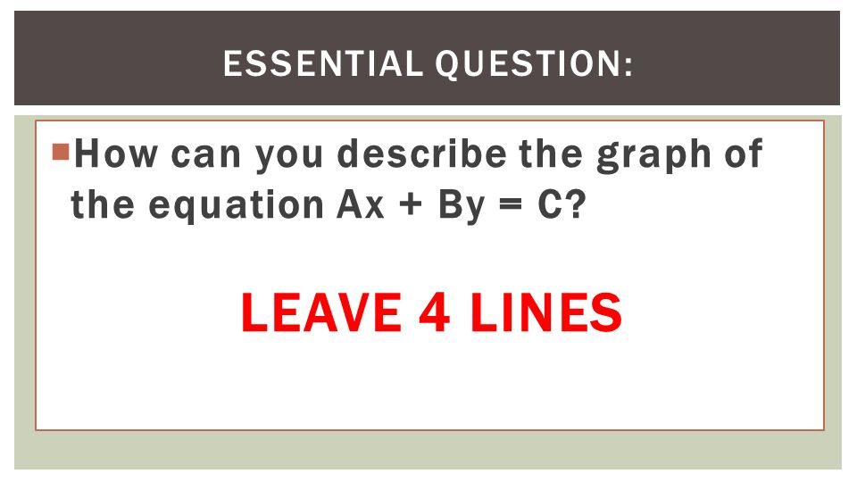 Chapter 3 Graphing Linear Functions What You Will Learn