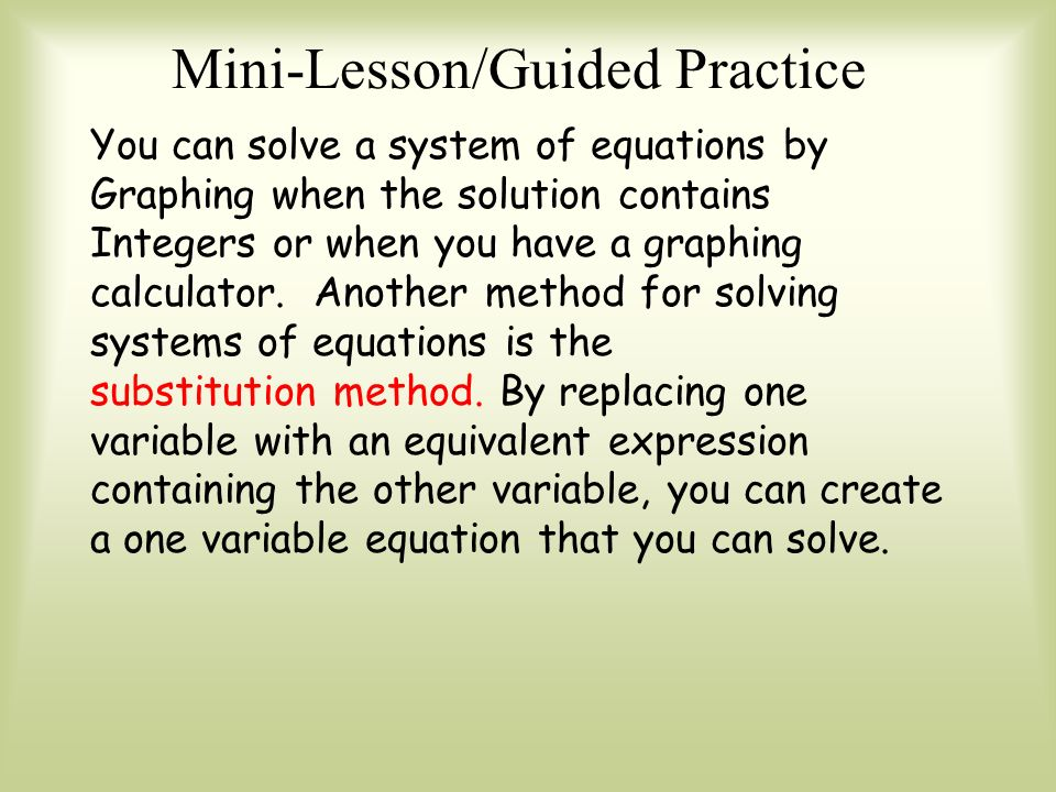 an introduction to the various systems of solving equations Solving systems of linear equations a system of linear equations is just a set of two or more linear equations in two variables (x and y) , the graph of a system of two equations is a pair of lines in the plane there are three possibilities: the.
