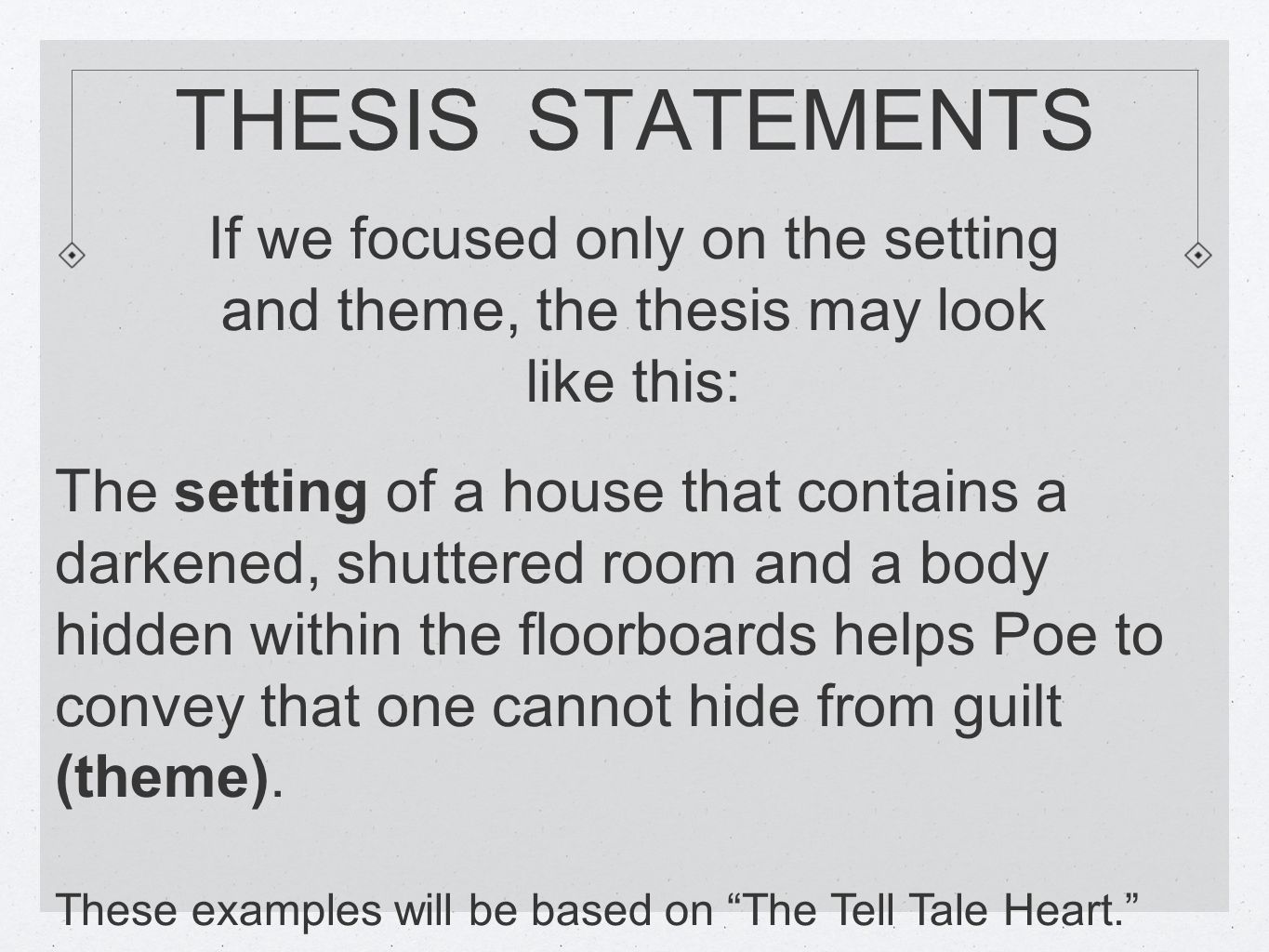 assignment worksheet thesis statement and