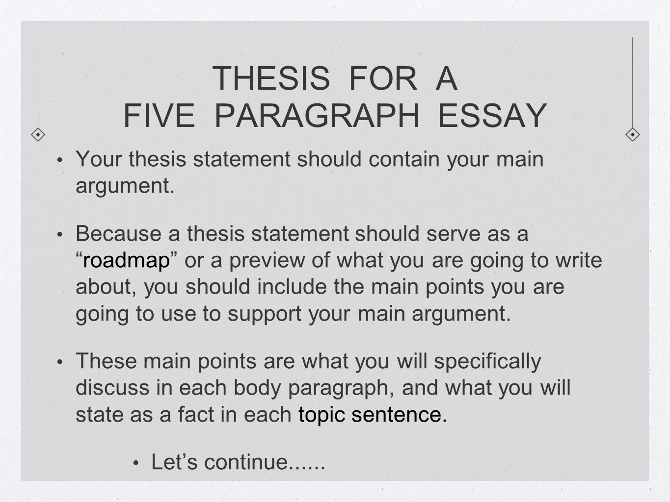 Thesis Statement The Almighty Thesis Statement This Is The   Thesis