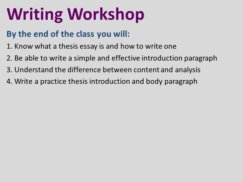writing workshop disclaimer different subjects require different  know what a thesis essay