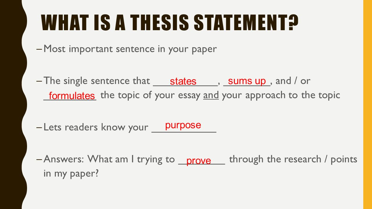 What's a thesis I forgot what it is?