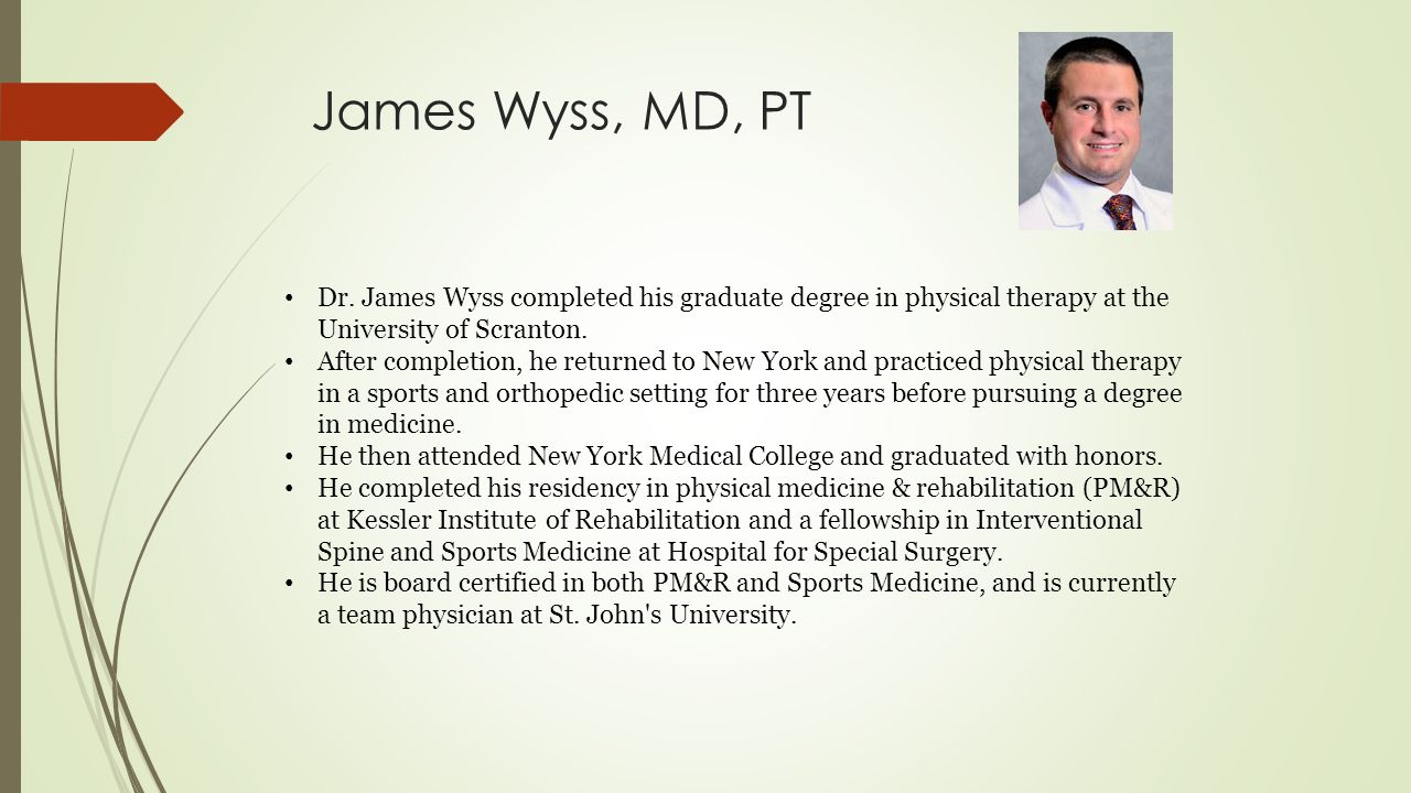 Degree in physical therapy - 1 James