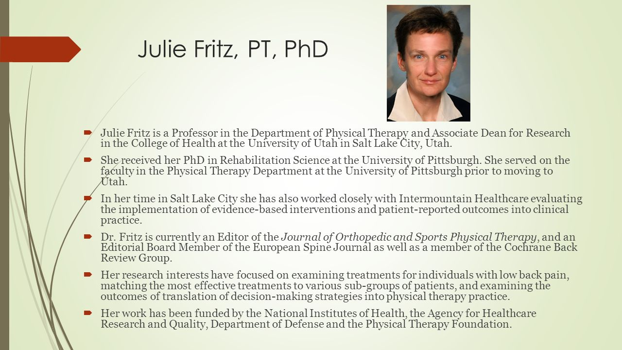 Degree in physical therapy - 4 Julie Fritz