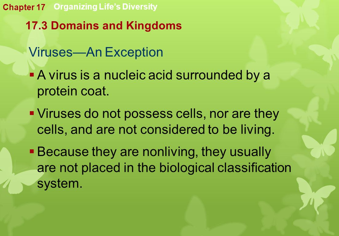 Viruses—An Exception  A virus is a nucleic acid surrounded by a protein coat.