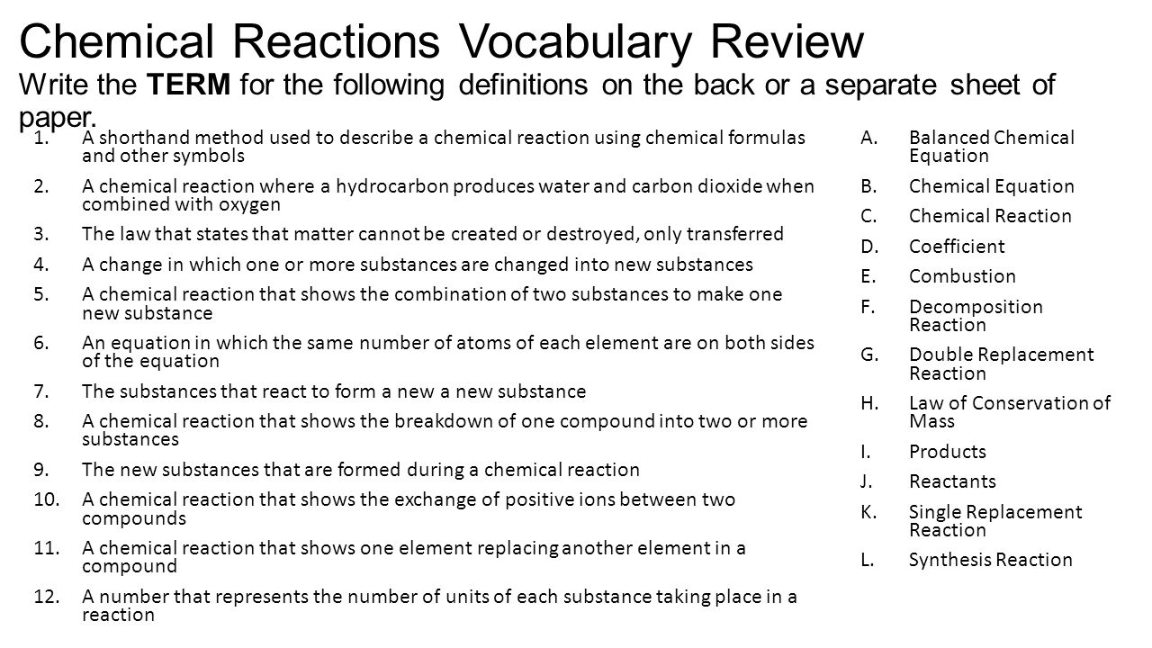 Chemical reactions vocabulary review chemical reactions 2 chemical reactions vocabulary biocorpaavc Choice Image