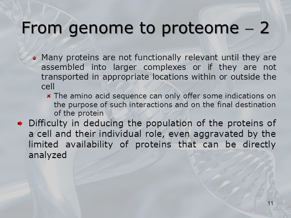 Many proteins are not functionally relevant until they are assembled into larger complexes or if they are not transported in appropriate locations within or outside the cell The amino acid sequence can only offer some indications on the purpose of such interactions and on the final destination of the protein Difficulty in deducing the population of the proteins of a cell and their individual role, even aggravated by the limited availability of proteins that can be directly analyzed 11 From genome to proteome  2