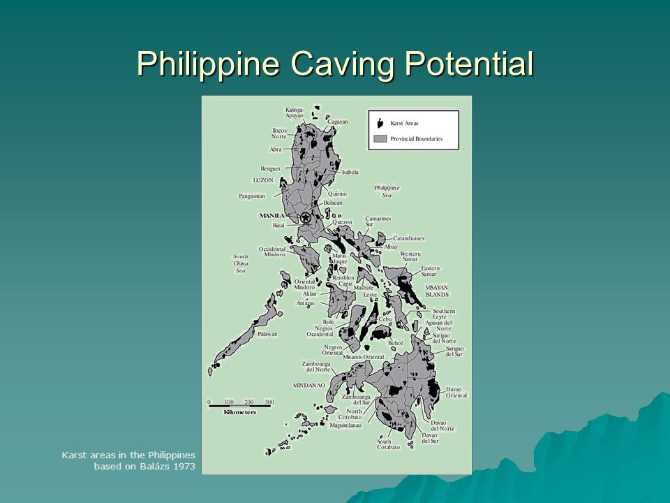 Philippine Caving Potential Karst areas in the Philippines based on Balázs 1973