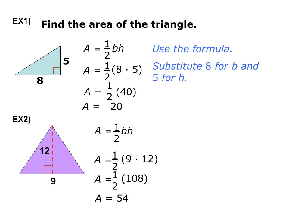 Area perimeter of triangles the formula for a triangle can be 5 find ccuart Images