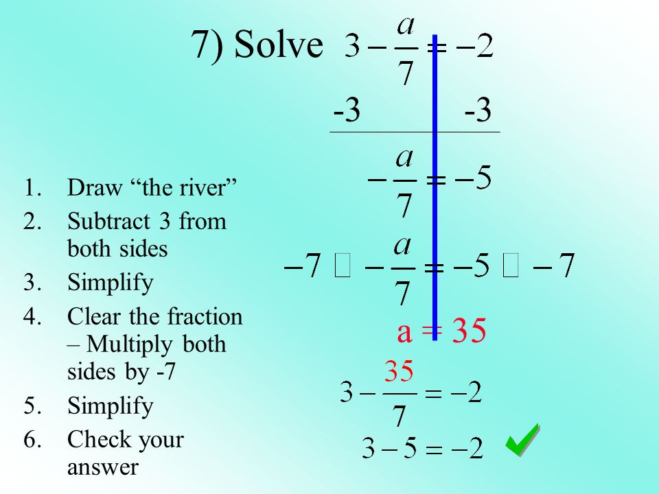 7) Solve a = 35 1.Draw the river 2.Subtract 3 from both sides 3.Simplify 4.Clear the fraction – Multiply both sides by -7 5.Simplify 6.Check your answer