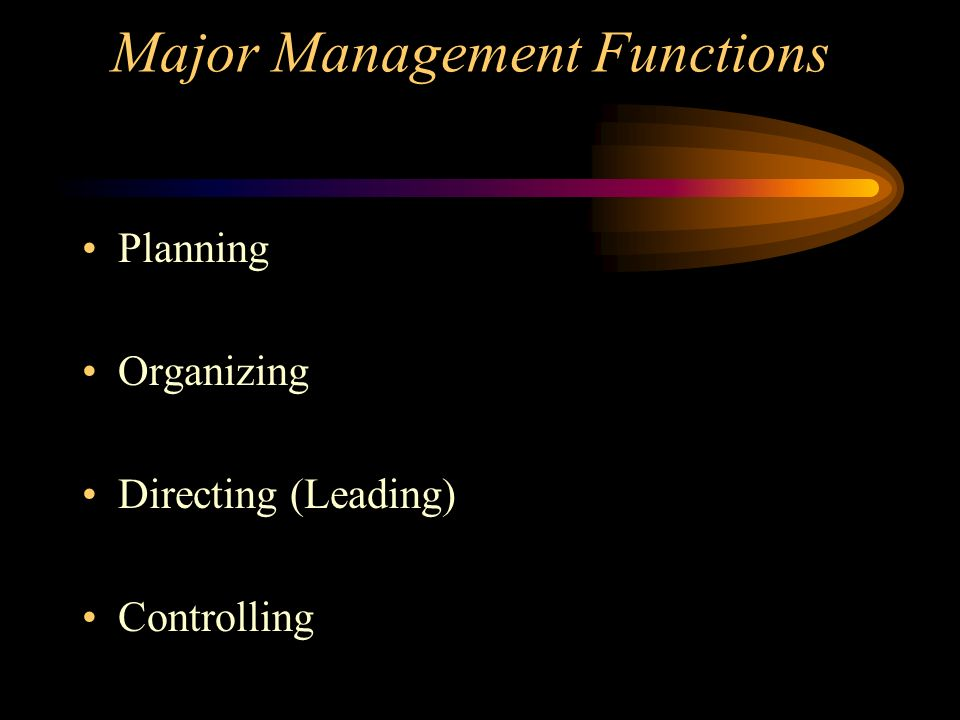 Major Management Functions Planning Organizing Directing (Leading) Controlling
