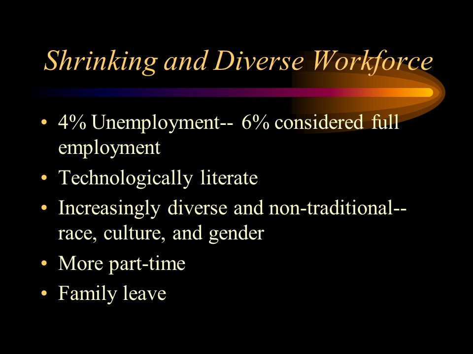 Shrinking and Diverse Workforce 4% Unemployment-- 6% considered full employment Technologically literate Increasingly diverse and non-traditional-- race, culture, and gender More part-time Family leave