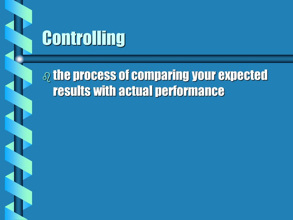 Controlling b the process of comparing your expected results with actual performance