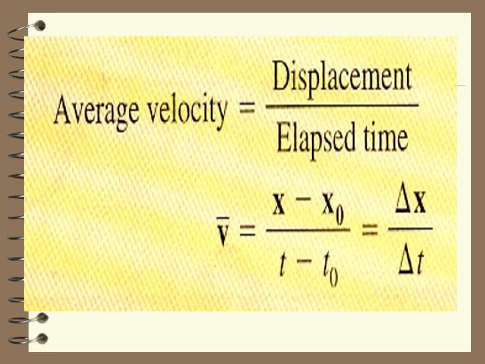 Average Velocity 4 DISPLACEMENT divided by TIME v avg = average velocity = change in position = displacement change in time time interval