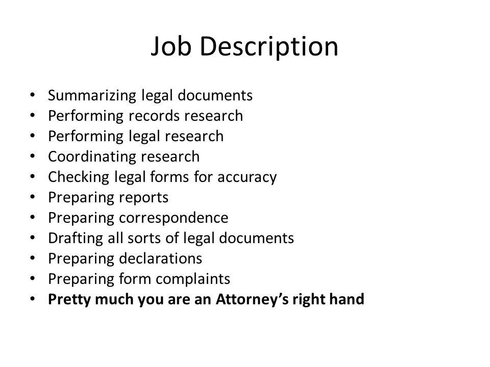 2 job description summarizing - Ip Paralegal Job Description
