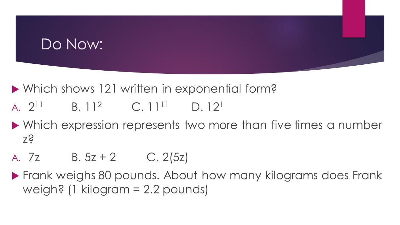 Writing algebraic expressions part 2 swbat write algebraic 2 do biocorpaavc Choice Image
