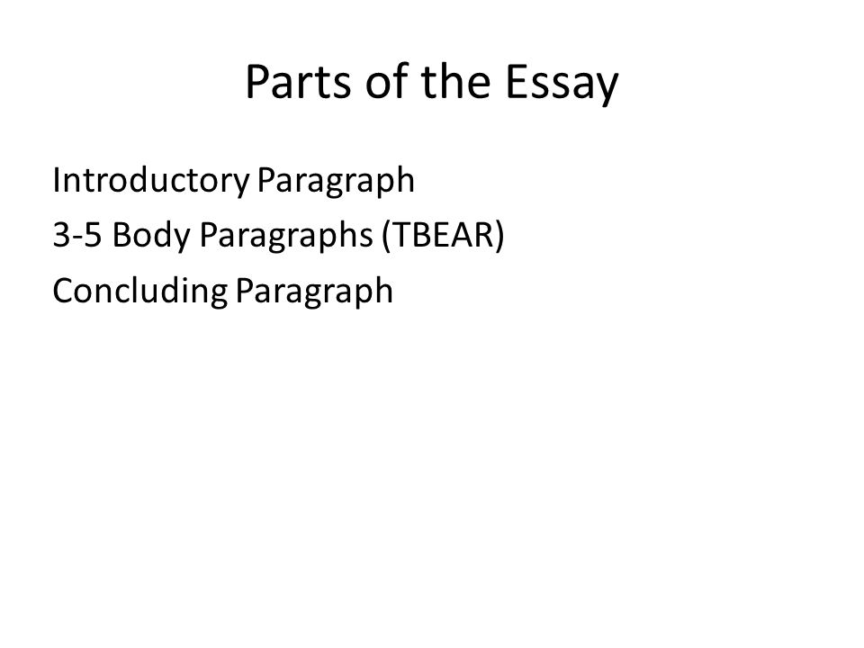 directions copy the following sentence in your grammar section 6 parts of the essay introductory paragraph 3 5 body paragraphs tbear concluding paragraph