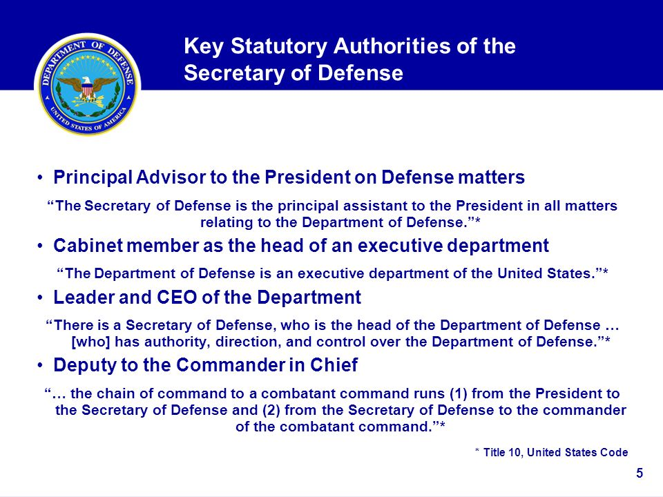 Department of Defense Overview Director for Administration and ...