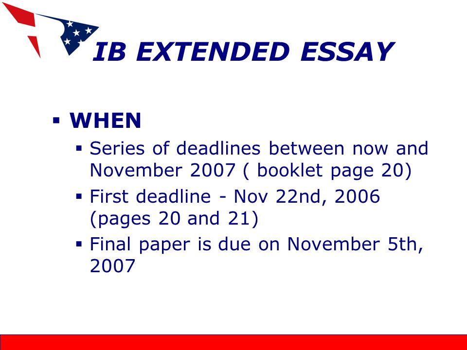 ib extended essay official deadline