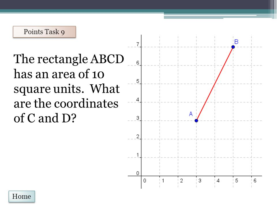 Home Points Task 9 The rectangle ABCD has an area of 10 square units.