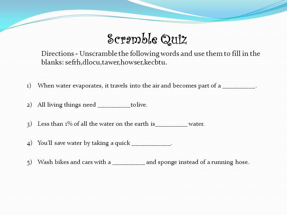 12 Scramble Quiz Directions