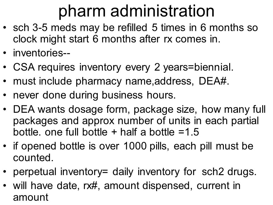 Pharm administration invoices---- CSA requires all invoices for ...