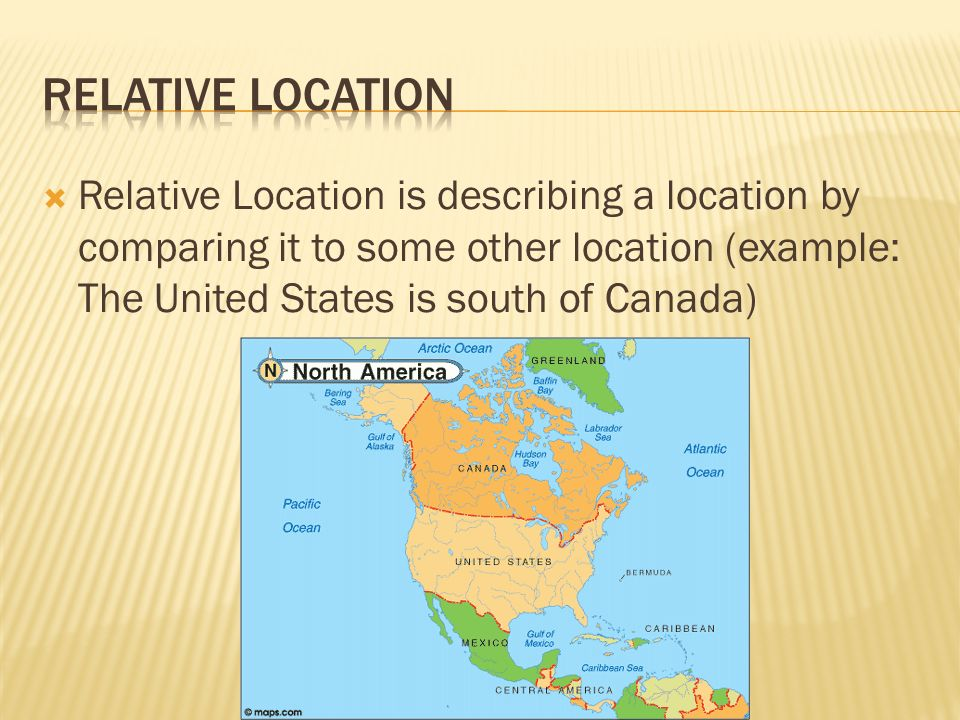 Absolute location is describing the location of a place using 3 relative location is describing a location by comparing it to some other location example the united states is south of canada sciox Choice Image