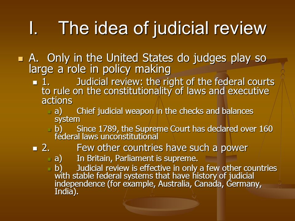 an introduction to the idea of judical review Mauro cappelletti,judicial review in comparative perspective  with its recent introduction in yugoslavia  (the basic idea of judicial review is.